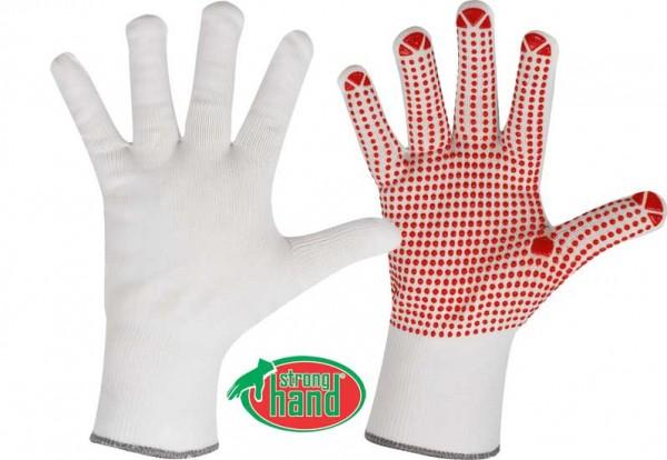 Fuzhou Strickhandschuh weiß/rote Noppen